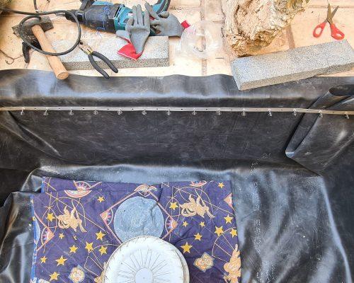 תפירת PVC לבריכת נוי מבטון